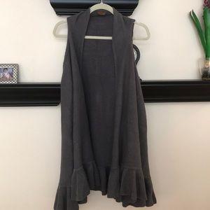 Grey ruffle trimmed long vest